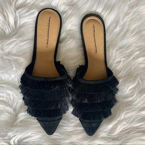 Black Fringe Flat Mules